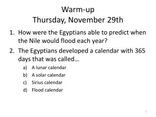 Warm-up Thursday, November 29th