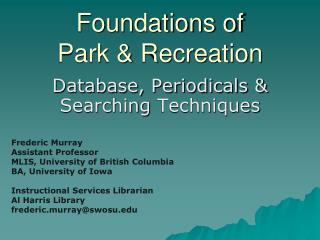 Foundations of  Park & Recreation