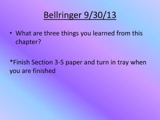 Bellringer  9/30/13