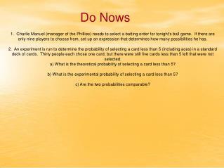 Do Nows