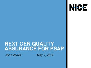 Next Gen Quality Assurance for PSAP