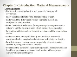 Chapter 1 – Introduction: Matter & Measurements