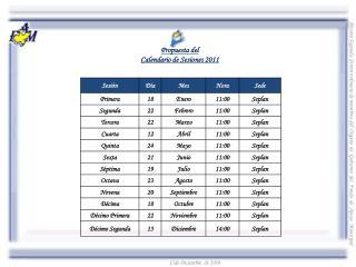 Propuesta del  Calendario de Sesiones 2011