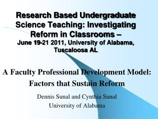 A Faculty  Professional Development Model:  Factors that Sustain Reform