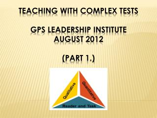 Teaching with Complex Tests GPS Leadership Institute August 2012 (Part 1.)