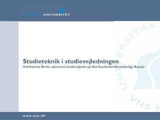 Studieteknik i studievejledningen