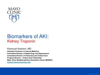 Biomarkers of AKI: Kidney Troponin