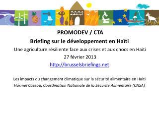 PROMODEV / CTA  Briefing sur le développement en Haïti