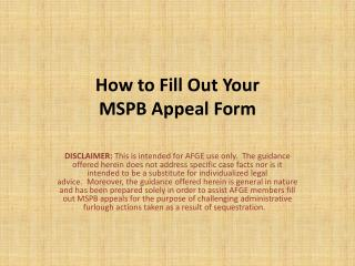 How to Fill Out Your  MSPB Appeal Form
