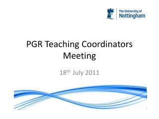 PGR Teaching Coordinators Meeting