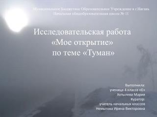 Исследовательская работа  «Мое открытие»  по теме «Туман» Выполнила:  ученица 4 класса «Е»