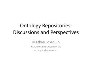 Ontology Repositories: Discussions and Perspectives