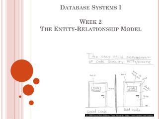 Database Systems I  Week 2 The Entity-Relationship Model