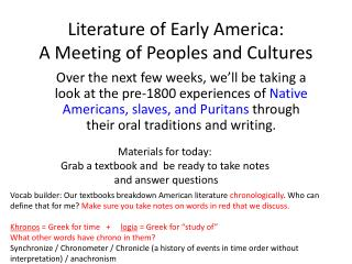 Literature of Early America: A Meeting of Peoples and Cultures