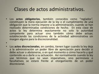 Clases  de actos administrativos.