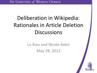 Deliberation in Wikipedia: Rationales in Article Deletion Discussions