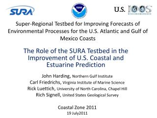 The Role of the SURA  Testbed  in the Improvement of U.S. Coastal and Estuarine Prediction