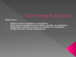 3.6 Inverse Functions