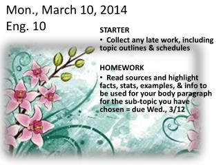 Mon., March 10, 2014 Eng. 10