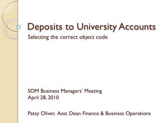 Deposits to University Accounts