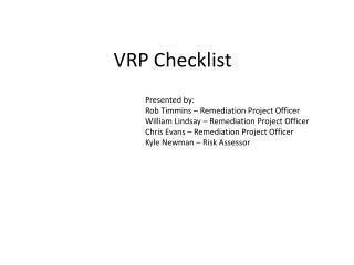 VRP Checklist