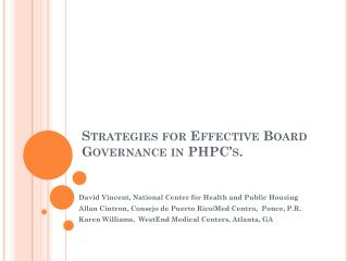 Strategies for Effective Board Governance in PHPC's.