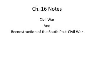 Ch. 16 Notes