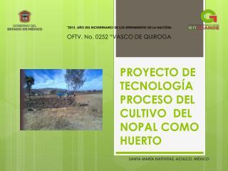 PROYECTO DE TECNOLOGÍA PROCESO DEL CULTIVO  DEL  NOPAL COMO HUERTO