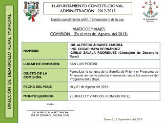 H. AYUNTAMIENTO CONSTITUCIONAL ADMINISTRACIÓN   2012-2015