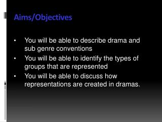 Aims/Objectives