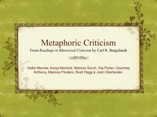 Metaphoric Criticism
