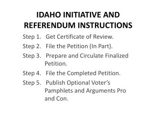 IDAHO INITIATIVE AND REFERENDUM INSTRUCTIONS