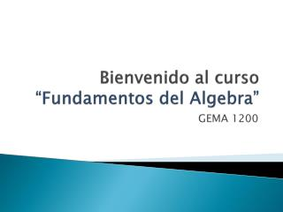 """Bienvenido  al  curso """" Fundamentos  del Algebra"""""""
