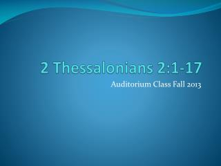 2 Thessalonians 2:1-17