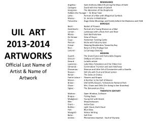 UIL  ART 2013-2014  ARTWORKS Official Last Name of Artist & Name of Artwork
