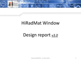 HiRadMat  Window Design report  v3.0