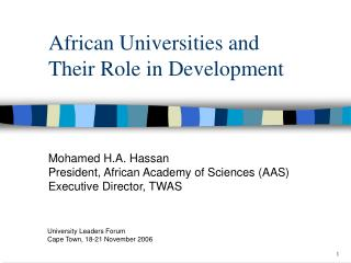 African Universities and Their Role in Development