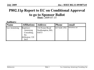 P802.11p Report to EC on Conditional Approval to go to Sponsor Ballot