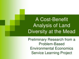 A Cost-Benefit Analysis of Land Diversity at the Mead