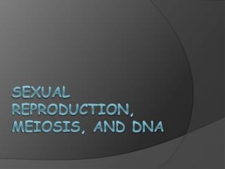 Sexual Reproduction, Meiosis, and DNA