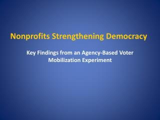 Nonprofits Strengthening Democracy