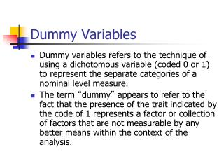 Dummy Variables