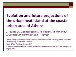 Evolution and future projections of the urban heat island at the coastal urban area of Athens