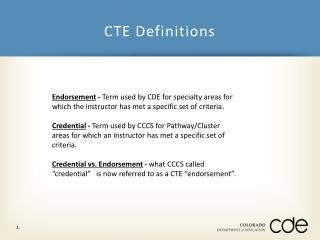 CTE Definitions