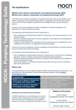 The Qualifications NOCN Level 2 Award  in  Introduction to Pumping Technology ( QCF )