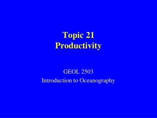 Topic 21 Productivity