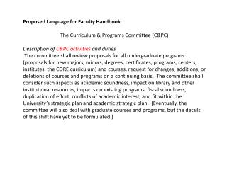 Proposed Language for Faculty Handbook : The Curriculum & Programs Committee (C&PC)