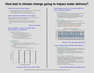 How bad is climate change going to impact water delivery