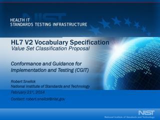 HL7 V2 Vocabulary Specification V alue Set Classification Proposal