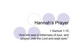 Hannah�s Prayer
